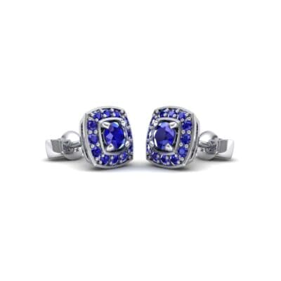 Square Halo Blue Sapphire Earrings (1.09 CTW) Perspective View