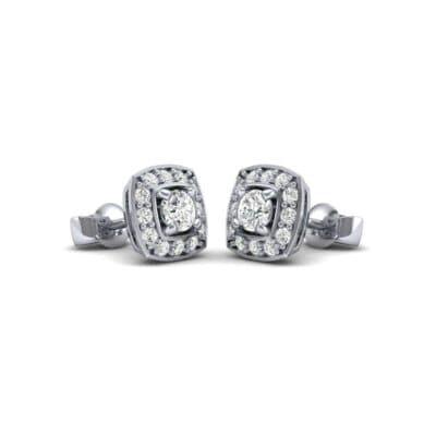 Square Halo Diamond Earrings (0.76 Carat)