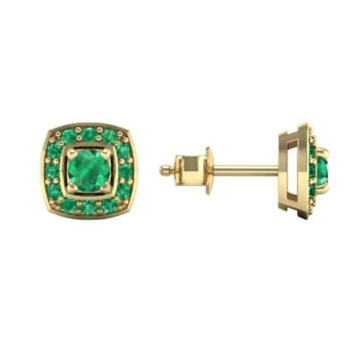 Square Halo Emerald Earrings (1.09 CTW) Top Dynamic View