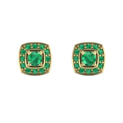 Square Halo Emerald Earrings (1.09 CTW) Side View