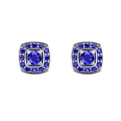 Square Halo Blue Sapphire Earrings (1.09 CTW) Side View
