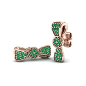 Pave Bow Tie Emerald Earrings (0.4 Carat)