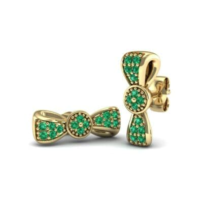 Pave Bow Tie Emerald Earrings (0.4 CTW) Perspective View