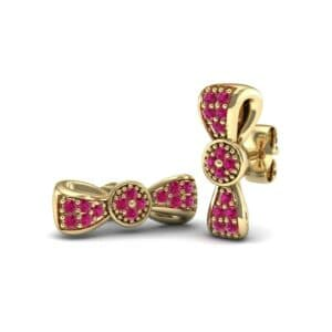 Pave Bow Tie Ruby Earrings (0.4 Carat)