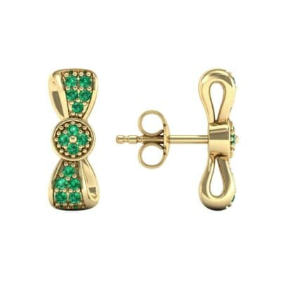 Pave Bow Tie Emerald Earrings (0.4 CTW) Top Dynamic View