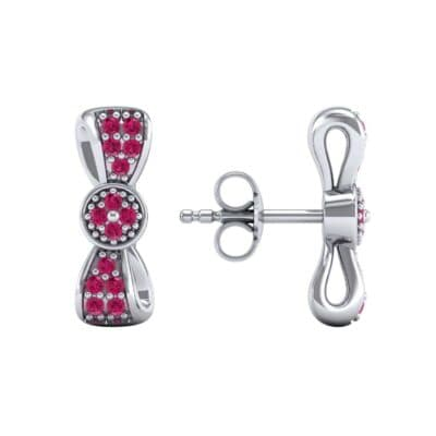 Pave Bow Tie Ruby Earrings (0.4 CTW) Top Dynamic View