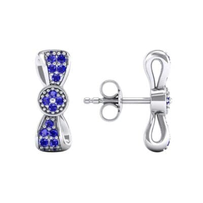 Pave Bow Tie Blue Sapphire Earrings (0.4 CTW) Top Dynamic View
