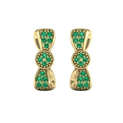 Pave Bow Tie Emerald Earrings (0.4 CTW) Side View