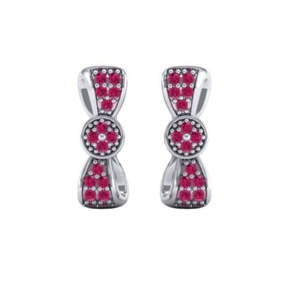 Pave Bow Tie Ruby Earrings (0.4 CTW) Side View