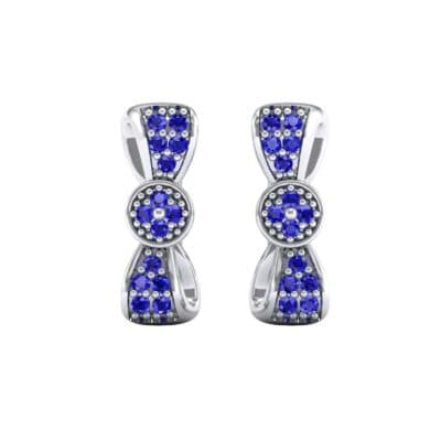 Pave Bow Tie Blue Sapphire Earrings (0.4 CTW) Side View