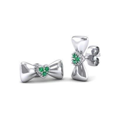 Pave Heart Bow Tie Emerald Earrings (0.09 Carat)