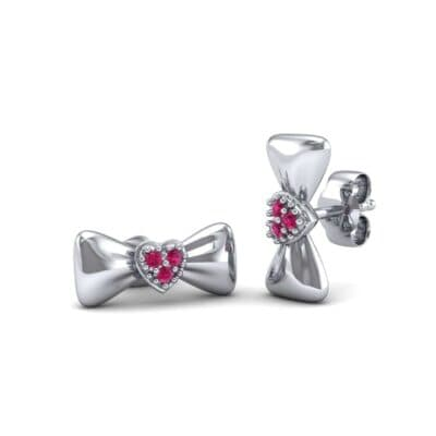 Pave Heart Bow Tie Ruby Earrings (0.09 CTW) Perspective View