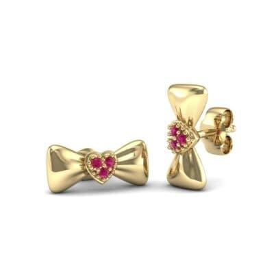 Pave Heart Bow Tie Ruby Earrings (0.09 Carat)