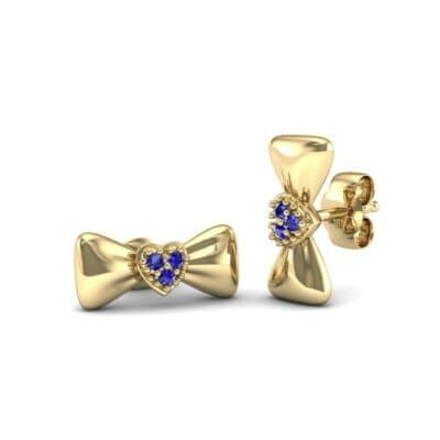 Pave Heart Bow Tie Blue Sapphire Earrings (0.09 CTW) Perspective View