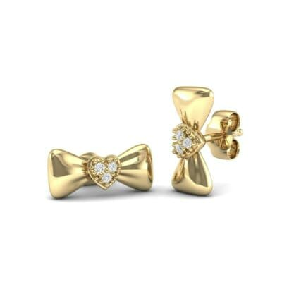 Pave Heart Bow Tie Diamond Earrings (0.07 CTW) Perspective View
