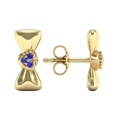 Pave Heart Bow Tie Blue Sapphire Earrings (0.09 CTW) Top Dynamic View