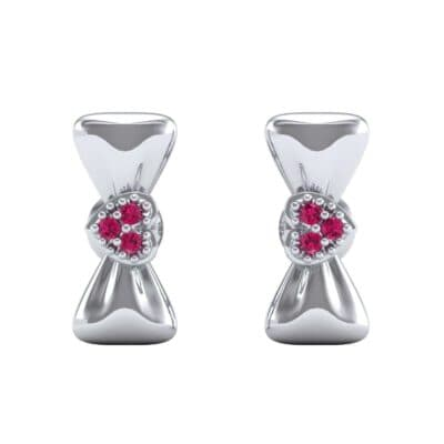 Pave Heart Bow Tie Ruby Earrings (0.09 CTW) Side View
