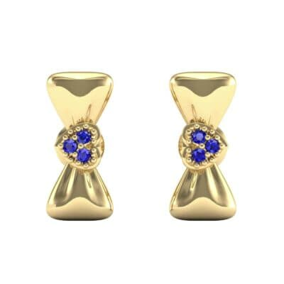 Pave Heart Bow Tie Blue Sapphire Earrings (0.09 CTW) Side View