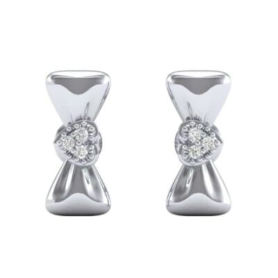 Pave Heart Bow Tie Diamond Earrings (0.07 CTW) Side View