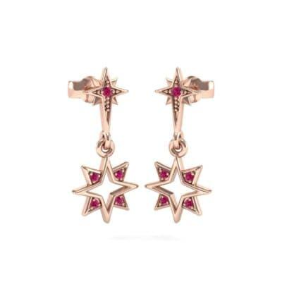 Falling Star Ruby Drop Earrings (0.16 Carat)