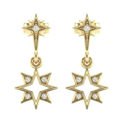 Falling Star Diamond Drop Earrings (0.13 CTW) Side View