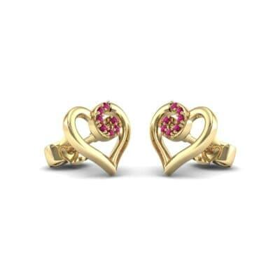 Swirl Heart Ruby Earrings (0.09 Carat)
