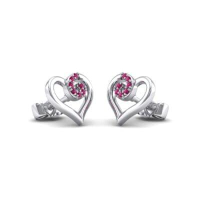 Swirl Heart Ruby Earrings (0.21 CTW) Perspective View