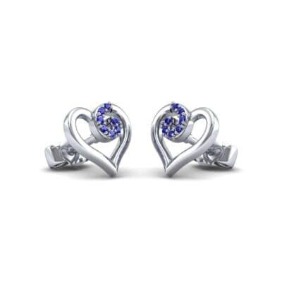 Swirl Heart Blue Sapphire Earrings (0.21 CTW) Perspective View