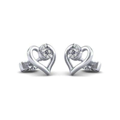 Swirl Heart Diamond Earrings (0.17 CTW) Perspective View