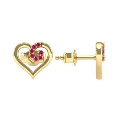 Swirl Heart Ruby Earrings (0.21 CTW) Top Dynamic View