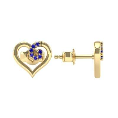 Swirl Heart Blue Sapphire Earrings (0.21 CTW) Top Dynamic View