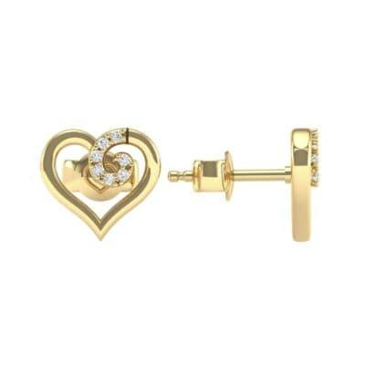 Swirl Heart Diamond Earrings (0.17 CTW) Top Dynamic View