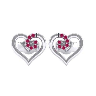 Swirl Heart Ruby Earrings (0.21 CTW) Side View