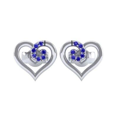 Swirl Heart Blue Sapphire Earrings (0.21 CTW) Side View