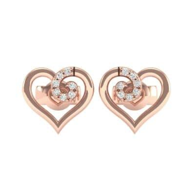Swirl Heart Diamond Earrings (0.17 CTW) Side View