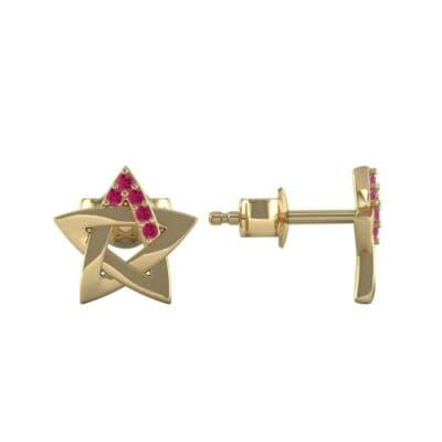 Pentagram Ruby Earrings (0.05 CTW) Top Dynamic View
