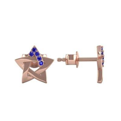 Pentagram Blue Sapphire Earrings (0.05 CTW) Top Dynamic View