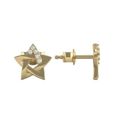 Pentagram Diamond Earrings (0.03 CTW) Top Dynamic View