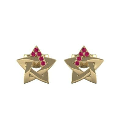 Pentagram Ruby Earrings (0.05 CTW) Side View