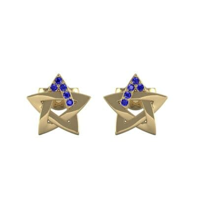 Pentagram Blue Sapphire Earrings (0.05 CTW) Side View