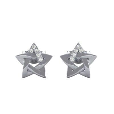 Pentagram Diamond Earrings (0.03 CTW) Side View