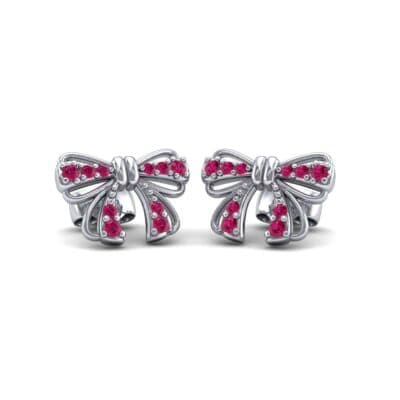 Bow Ruby Earrings (0.25 CTW) Perspective View
