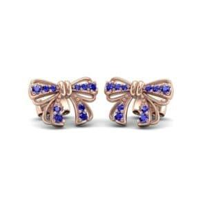 Bow Blue Sapphire Earrings (0.29 Carat)
