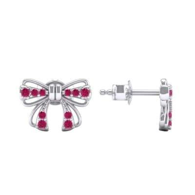 Bow Ruby Earrings (0.25 CTW) Top Dynamic View