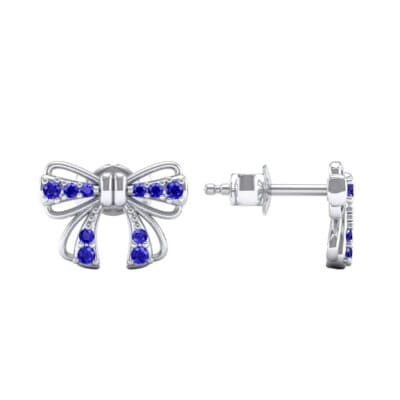 Bow Blue Sapphire Earrings (0.25 CTW) Top Dynamic View