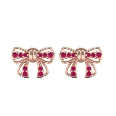 Bow Ruby Earrings (0.25 CTW) Side View