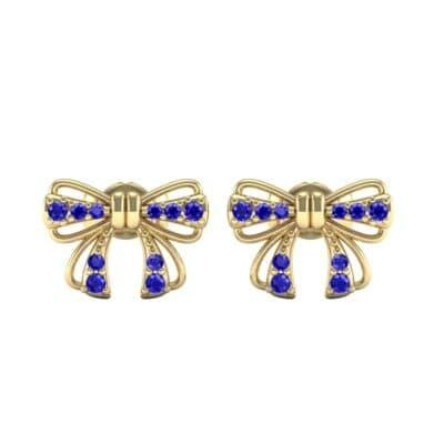 Bow Blue Sapphire Earrings (0.25 CTW) Side View