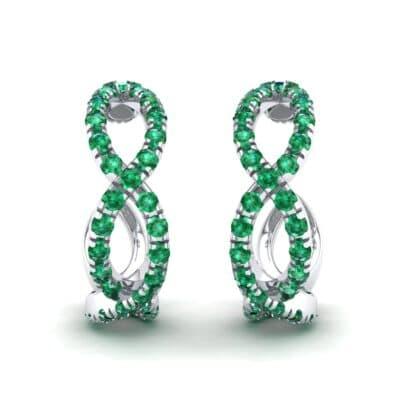 Pave Twist Emerald Hoop Earrings (1.65 Carat)