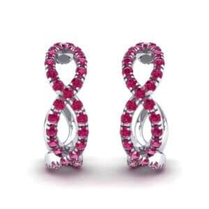 Pave Twist Ruby Hoop Earrings (1.65 Carat)