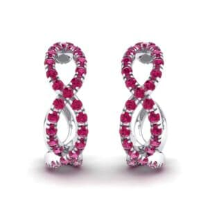 Pave Twist Ruby Hoop Earrings (1.65 Carat)